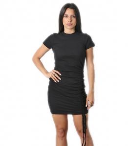 Φόρεμα πλεκτό με σούρα στο πλάι (Μαύρο)