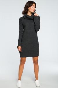 Φόρεμα πλεκτό μίνι με ζιβάγκο - Γκρι