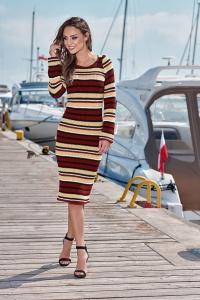 Φόρεμα πλεκτό μίντι με στρογγυλή λαιμόκοψη - Μπορντό ριγέ