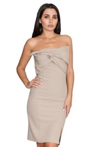 Φόρεμα στράπλες μίντι - Μπεζ