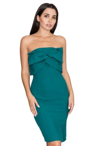 Φόρεμα στράπλες μίντι - Πράσινο
