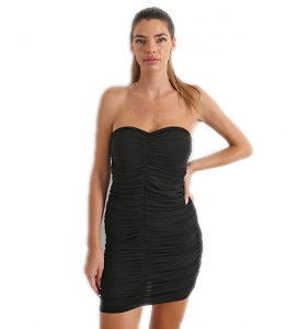 Φόρεμα στράπλες σουρωτό με λωρίδες (Μαύρο)