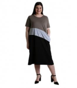 Φόρεμα τρίχρωμο μακρύ με τσέπη