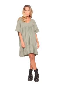 Φόρεμα Βαμβακερό Σε Χακί