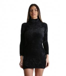 Φόρεμα χνουδωτό πλεκτό ζιβάγκο (Μαύρο)