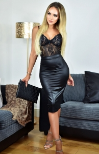 Φούστα μίντι δερματίνη - Μαύρο