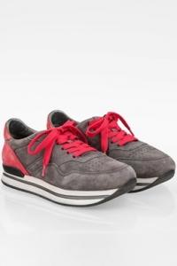Γκρι-Κόκκινα Σουέντ Sneakers / Μέγεθος: 37.5 - Εφαρμογή: Κανονική