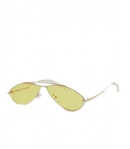 Γυαλιά ηλίου γατίσια με κίτρινο φακό και μεταλλικό σκελετό