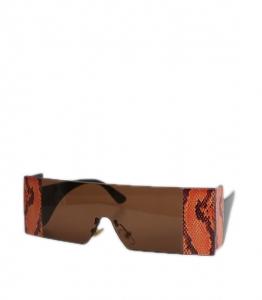 Γυαλιά ηλίου με φιδίσια λεπτομέρεια και καφέ φακό (Καφέ)