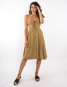 Γυναικείο κάμελ midi φόρεμα