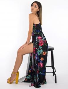 Γυναικείο μαύρο floral φόρεμα