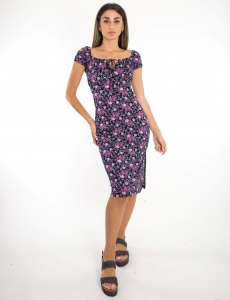 Γυναικείο μαύρο-μωβ floral