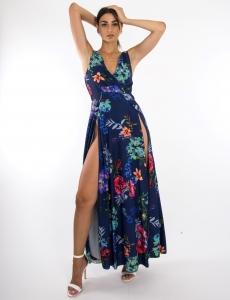 Γυναικείο μπλε floral φόρεμα