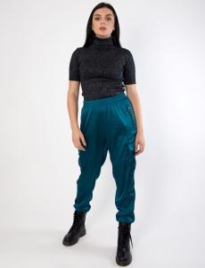 Γυναικείο πετρόλ σατέν παντελόνι
