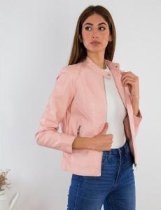 Γυναικείο ροζ Jacket δερματίνη