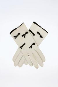 Ιβουάρ Δερμάτινα Γάντια με Φιογκάκια