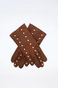 Καφέ Δερμάτινα Γάντια με Τρούκς