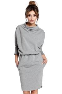 Καθημερινο μακρυμάνικο φόρεμα με χαλαρό ζιβάγκο - Γκρι