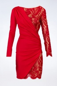 Κόκκινο Μάλλινο Ελαστικό Φόρεμα