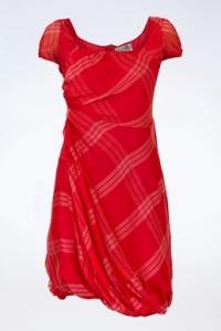 Κόκκινο Μεταξωτό Φόρεμα με Λευκές Γραμμές / Μέγεθος: 40 IT - Εφαρμογή: S