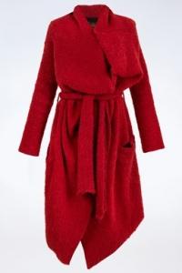 Κόκκινο Μπουκλέ Παλτό σε Waterfall Γραμμή / Μέγεθος: L - Εφαρμογή: M / L