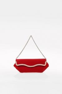 Κόκκινο Σατέν Τσαντάκι με Κρύσταλλα και Αλυσίδα