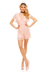 Κοντή εξώπλατη ολόσωμη φόρμα με δαντέλα - Ανοιχτό Ροζ