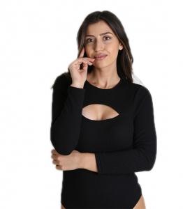 Κορμάκι πλεκτό ριπ με άνοιγμα στο στήθος (Μαύρο)