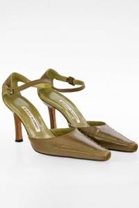 Λαδί Δερμάτινες Μυτερές Ankle Strap Γόβες / Μέγεθος: 35.5 - Εφαρμογή: 36.5