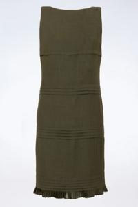 Λαδί Μάλλινο Αμάνικο Φόρεμα