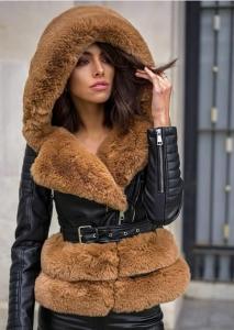 Leather Jacket με γούνα και