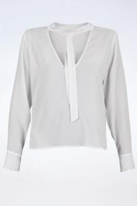 Λευκή Μεταξωτή Μπλούζα με Δέσιμο στο Γιακά / Μέγεθος: 40 - Εφαρμογή: S