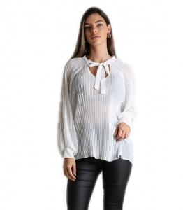 Λευκή πλισέ μπλούζα με δέσιμο στο πάνω μέρος