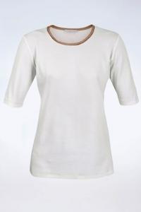 Λευκό Μακό T-Shirt με Μπεζ