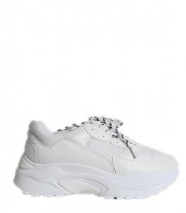 Λευκό sneakers δίπατο με ασπρόμαυρα κορδόνια