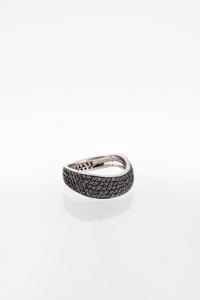 Λευκόχρυσο 14Κ Δαχτυλίδι με Μαύρα Διαμάντια