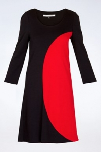 Luna Μαύρο-Κόκκινο Μακρυμάνικο Φόρεμα με 3/4 μανίκια / Εφαρμογή: S