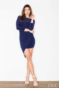Μακρυμάνικο φόρεμα με ασύμμετρη φούστα - Σκούρο Μπλε