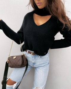 MARINA BLACK KNITTED BLOUSE