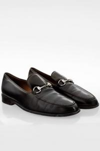 Μαύρα Δερμάτινα Ανδρικά Loafers με Ασημί Horsebit Αγκράφα / Μέγεθος: 43.5E - Εφαρμογή: 43