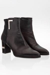 Μαύρα Δερμάτινα Μυτερά Ankle Boots / Μέγεθος: 38.5- Εφαρμογή: 39 (Άνετη)