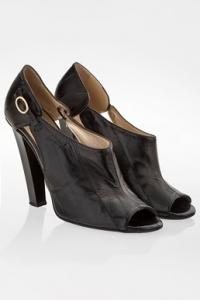 Μαύρα Δερμάτινα Peep Toe Ankle Boots / Μέγεθος: 37.5 - Εφαρμογή: Κανονική