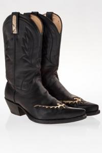 Μαύρες Δερμάτινες Cowboy Μπότες / Μέγεθος: 40 - Εφαρμογή: Κανονική