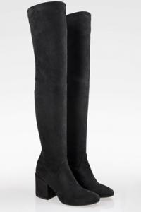 Μαύρες Σουέντ Knee High Μπότες