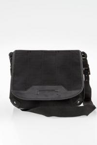 Μαύρη Crossbody Τσάντα από Καμβά και Δέρμα