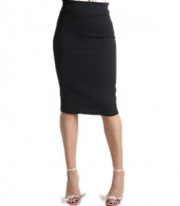 Μαύρη φούστα midi με λάστιχο