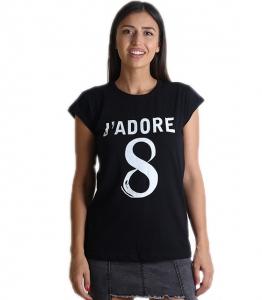 """Μαύρη μπλούζα με τύπωμα \""""JADORE\"""""""