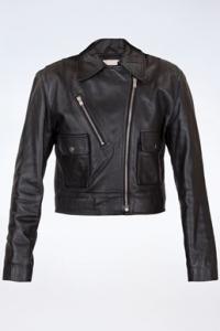 Μαύρο Cropped Δερμάτινο Jacket