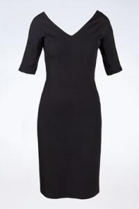 Μαύρο Εφαρμοστό Φόρεμα με 3/4 μανίκια / Μέγεθος: 40 IT Small