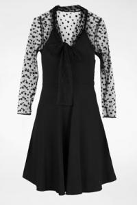 Μαύρο Φόρεμα με Διάφανα Πουά Μανίκια / Μέγεθος: 42 IT - Εφαρμογή: S